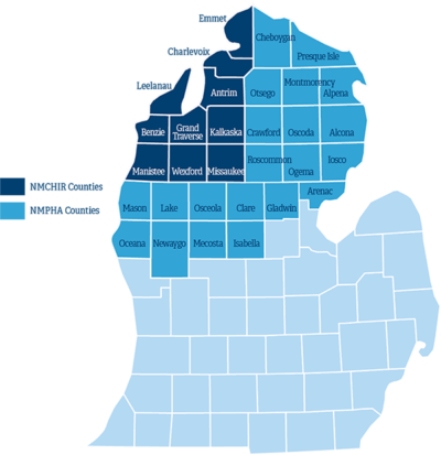 Map of Michigan with highlighted counties that participate in the Northern Michigan Public Health Alliance